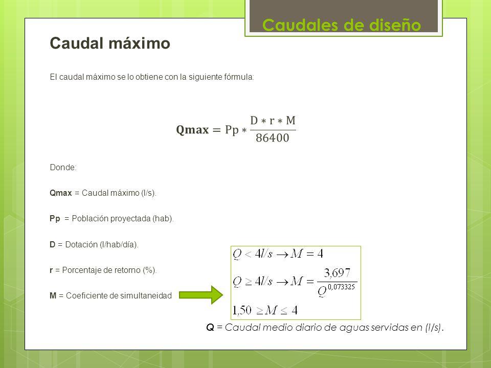 Caudales de diseño Q = Caudal medio diario de aguas servidas en (l/s).