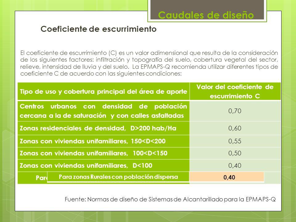 Coeficiente de escurrimiento El coeficiente de escurrimiento (C) es un valor adimensional que resulta de la consideración de los siguientes factores: