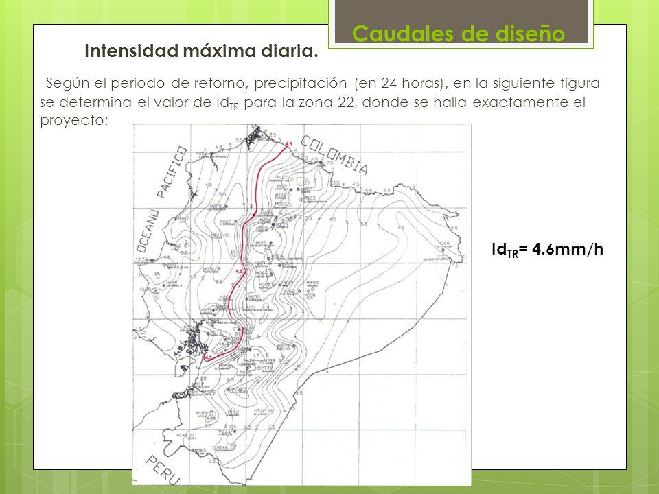 Intensidad máxima diaria. Según el periodo de retorno, precipitación (en 24 horas), en la siguiente figura se determina el valor de Id TR para la zona