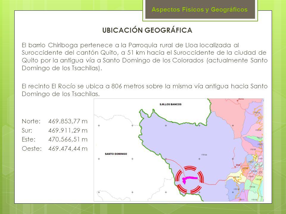 Aspectos Físicos y Geográficos El barrio Chiriboga pertenece a la Parroquia rural de Lloa localizada al Suroccidente del cantón Quito, a 51 km hacia e