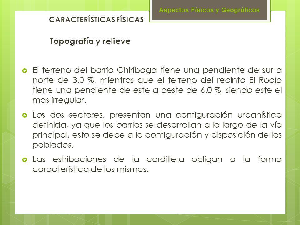 Aspectos Físicos y Geográficos Topografía y relieve El terreno del barrio Chiriboga tiene una pendiente de sur a norte de 3.0 %, mientras que el terre