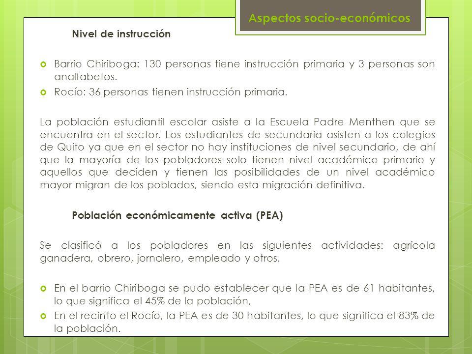 Aspectos socio-económicos Nivel de instrucción Barrio Chiriboga: 130 personas tiene instrucción primaria y 3 personas son analfabetos. Rocío: 36 perso