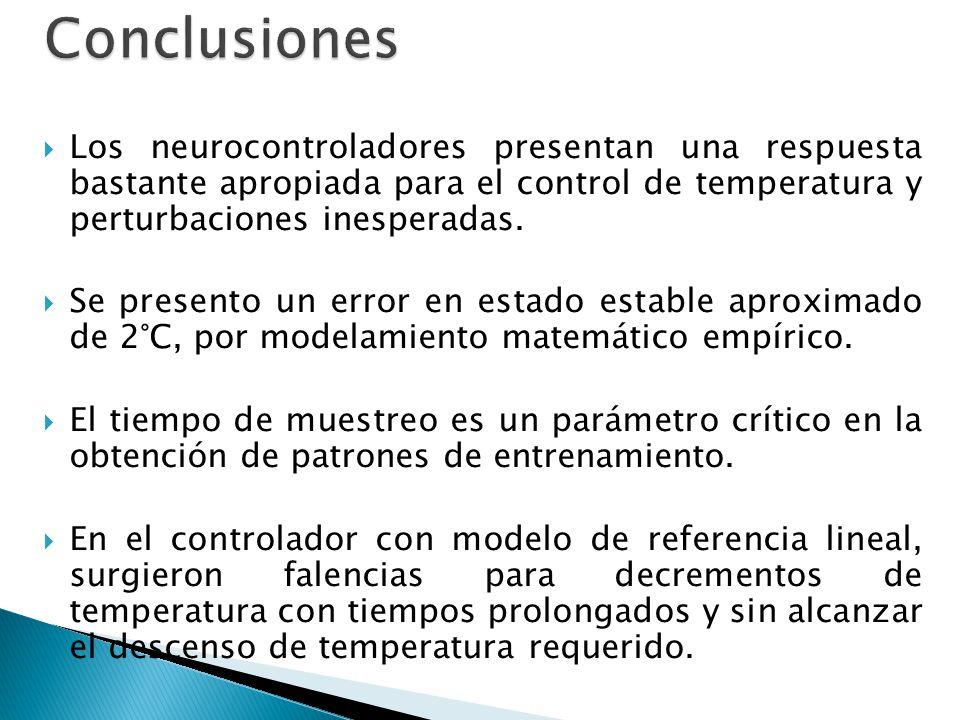 Los neurocontroladores presentan una respuesta bastante apropiada para el control de temperatura y perturbaciones inesperadas. Se presento un error en