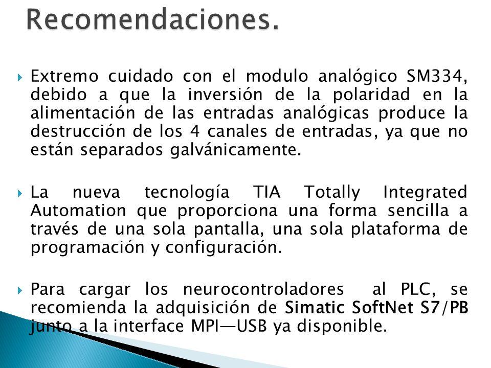 Extremo cuidado con el modulo analógico SM334, debido a que la inversión de la polaridad en la alimentación de las entradas analógicas produce la dest