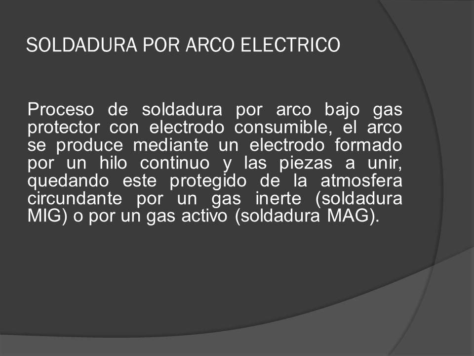 SOLDADURA POR ARCO ELECTRICO Proceso de soldadura por arco bajo gas protector con electrodo consumible, el arco se produce mediante un electrodo forma