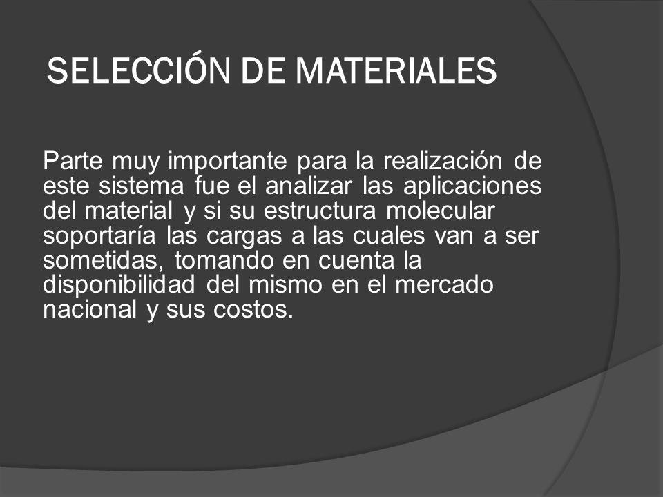 SELECCIÓN DE MATERIALES Parte muy importante para la realización de este sistema fue el analizar las aplicaciones del material y si su estructura mole