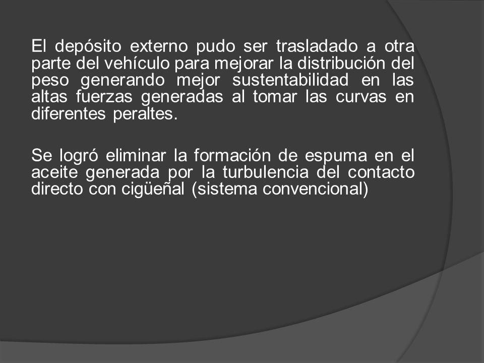 El depósito externo pudo ser trasladado a otra parte del vehículo para mejorar la distribución del peso generando mejor sustentabilidad en las altas f