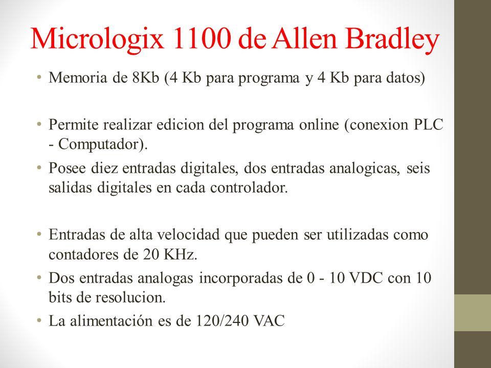Micrologix 1100 de Allen Bradley Memoria de 8Kb (4 Kb para programa y 4 Kb para datos) Permite realizar edicion del programa online (conexion PLC - Computador).