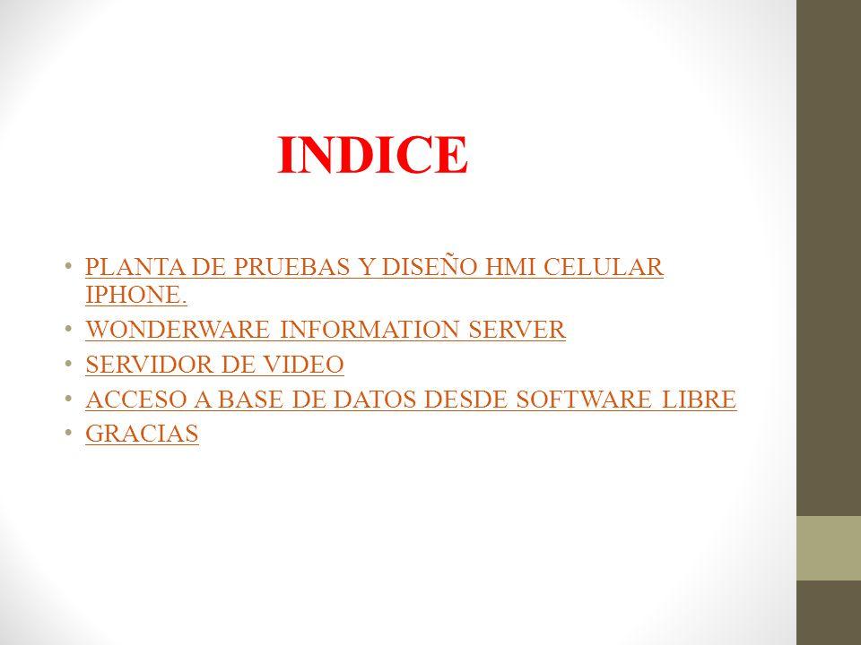 INDICE PLANTA DE PRUEBAS Y DISEÑO HMI CELULAR IPHONE. PLANTA DE PRUEBAS Y DISEÑO HMI CELULAR IPHONE. WONDERWARE INFORMATION SERVER SERVIDOR DE VIDEO A