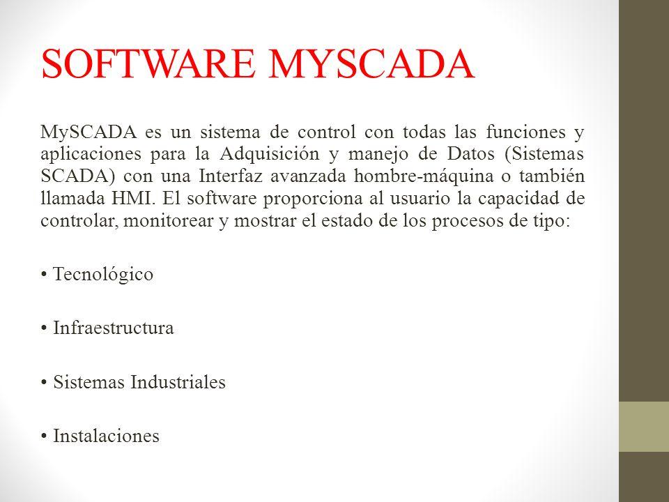 SOFTWARE MYSCADA MySCADA es un sistema de control con todas las funciones y aplicaciones para la Adquisición y manejo de Datos (Sistemas SCADA) con un