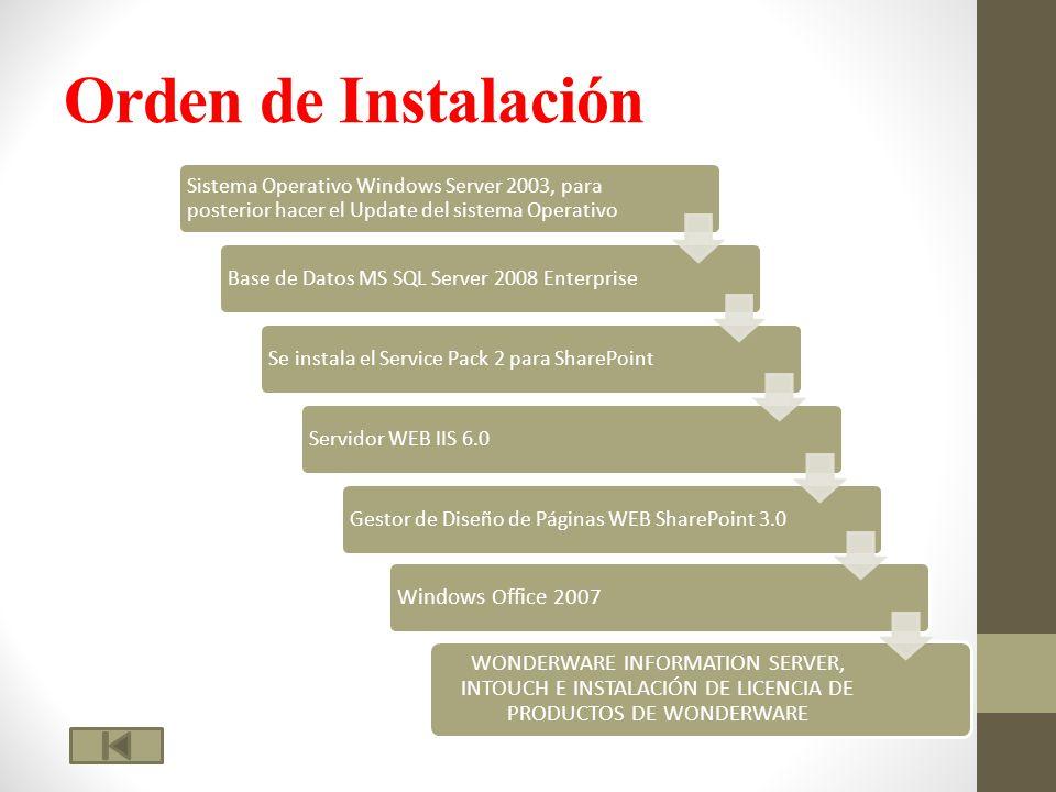 Orden de Instalación Windows Office 2007 WONDERWARE INFORMATION SERVER, INTOUCH E INSTALACIÓN DE LICENCIA DE PRODUCTOS DE WONDERWARE