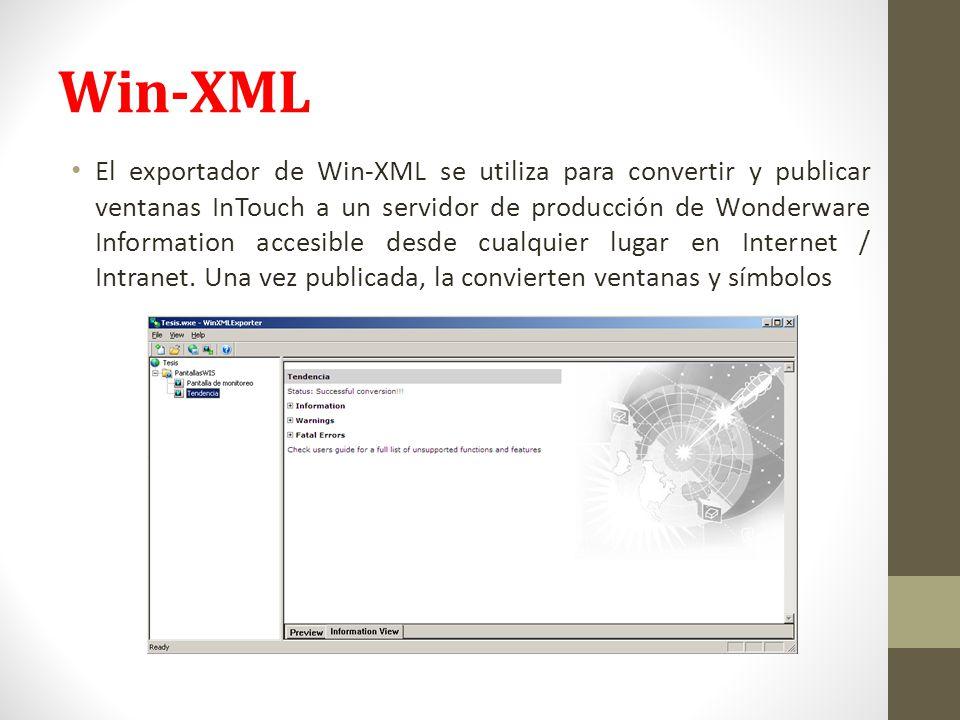 Win-XML El exportador de Win-XML se utiliza para convertir y publicar ventanas InTouch a un servidor de producción de Wonderware Information accesible desde cualquier lugar en Internet / Intranet.