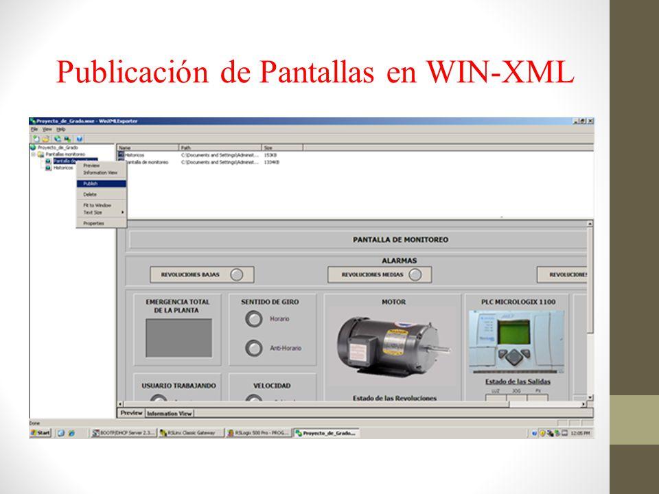 Publicación de Pantallas en WIN-XML