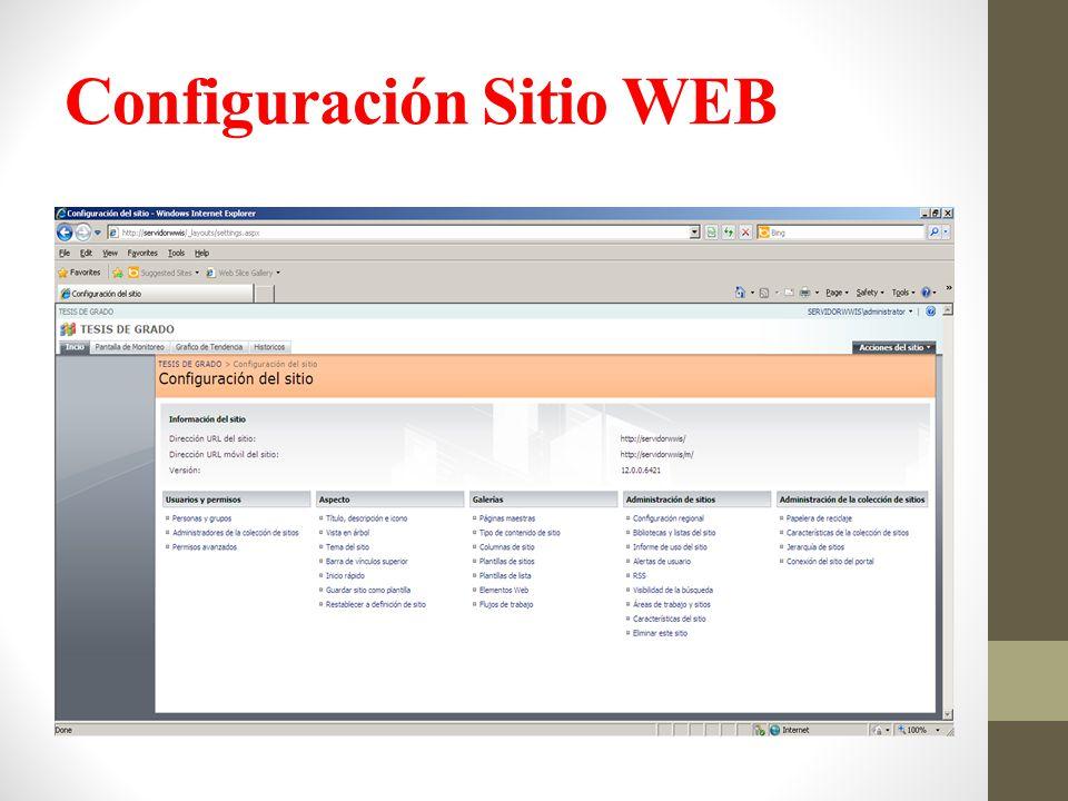 Configuración Sitio WEB