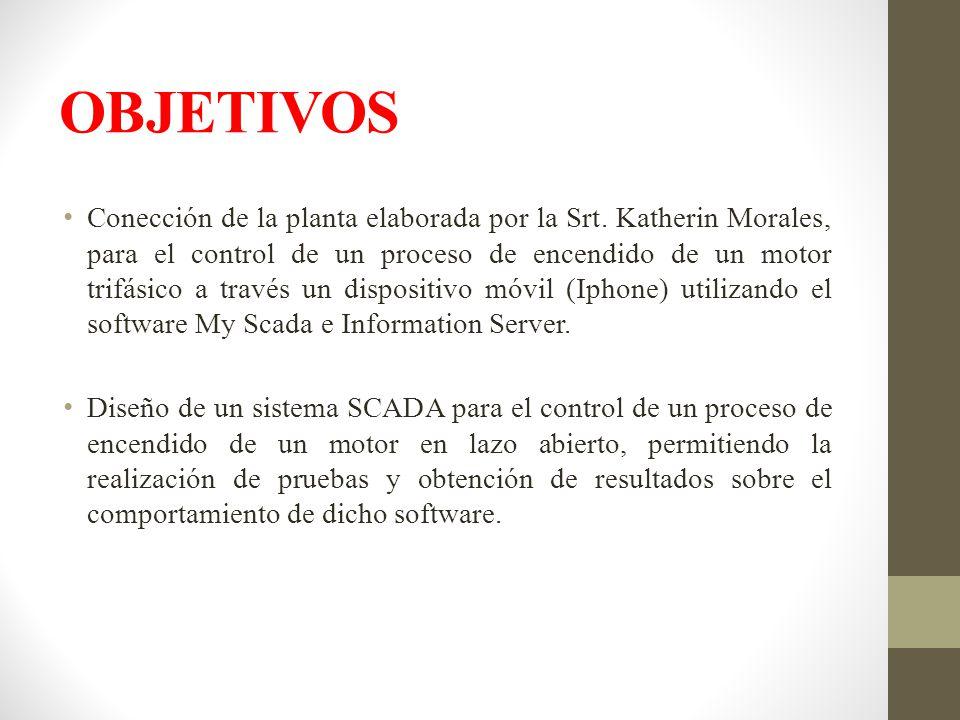 OBJETIVOS Conección de la planta elaborada por la Srt. Katherin Morales, para el control de un proceso de encendido de un motor trifásico a través un