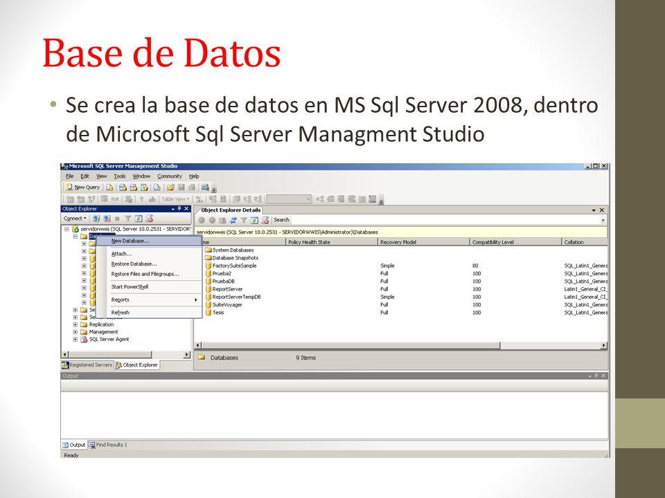 Base de Datos Se crea la base de datos en MS Sql Server 2008, dentro de Microsoft Sql Server Managment Studio