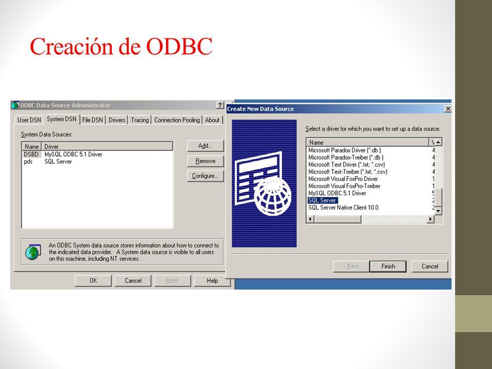 Creación de ODBC