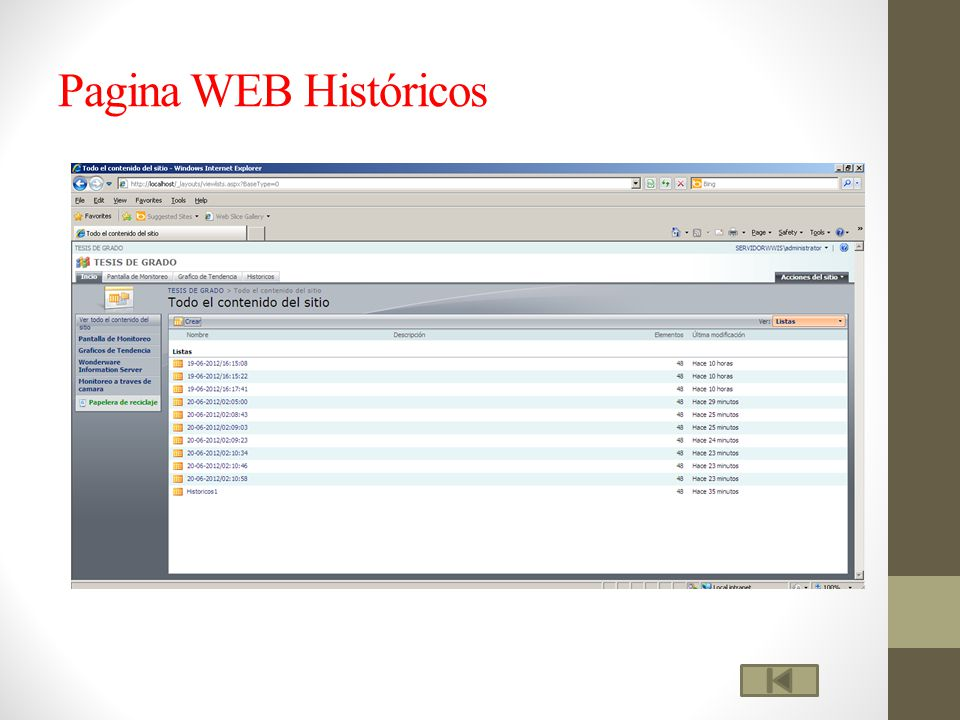 Pagina WEB Históricos
