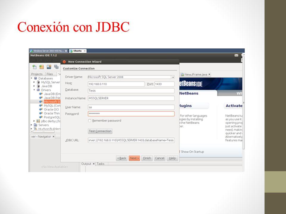 Conexión con JDBC