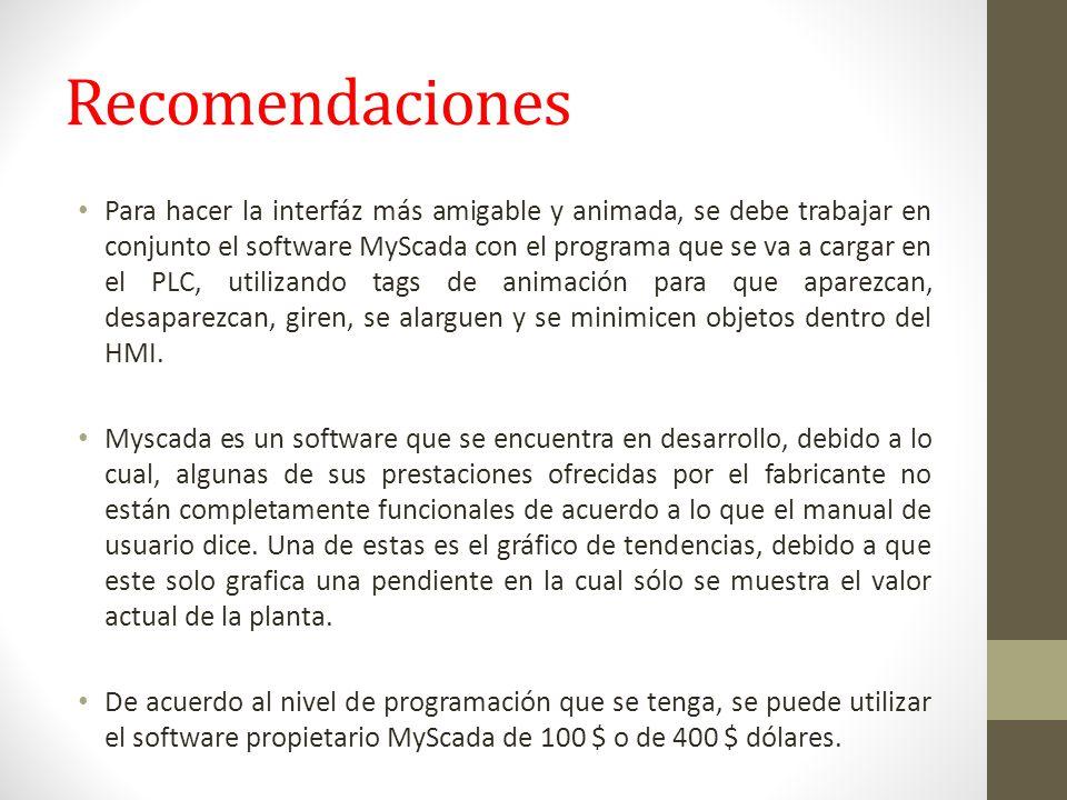 Recomendaciones Para hacer la interfáz más amigable y animada, se debe trabajar en conjunto el software MyScada con el programa que se va a cargar en