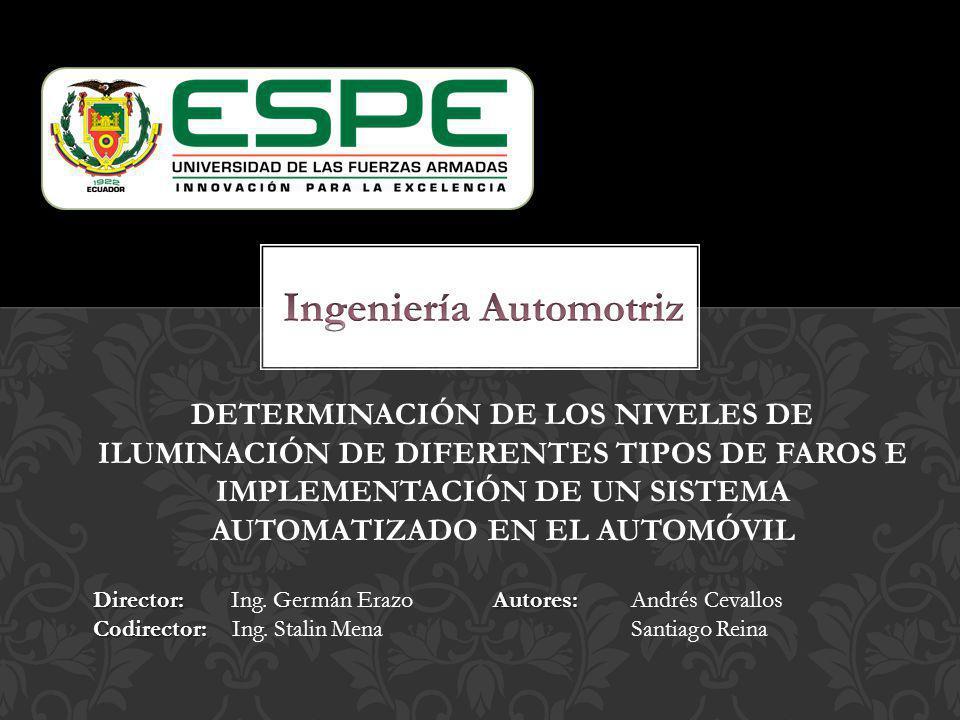Determinar los niveles de iluminación de diferentes tipos de faros e implementar un sistema automatizado en el automóvil para mejorar los niveles de seguridad y conducción en ambientes nocturnos, reduciendo el porcentaje de accidentes de tránsito.
