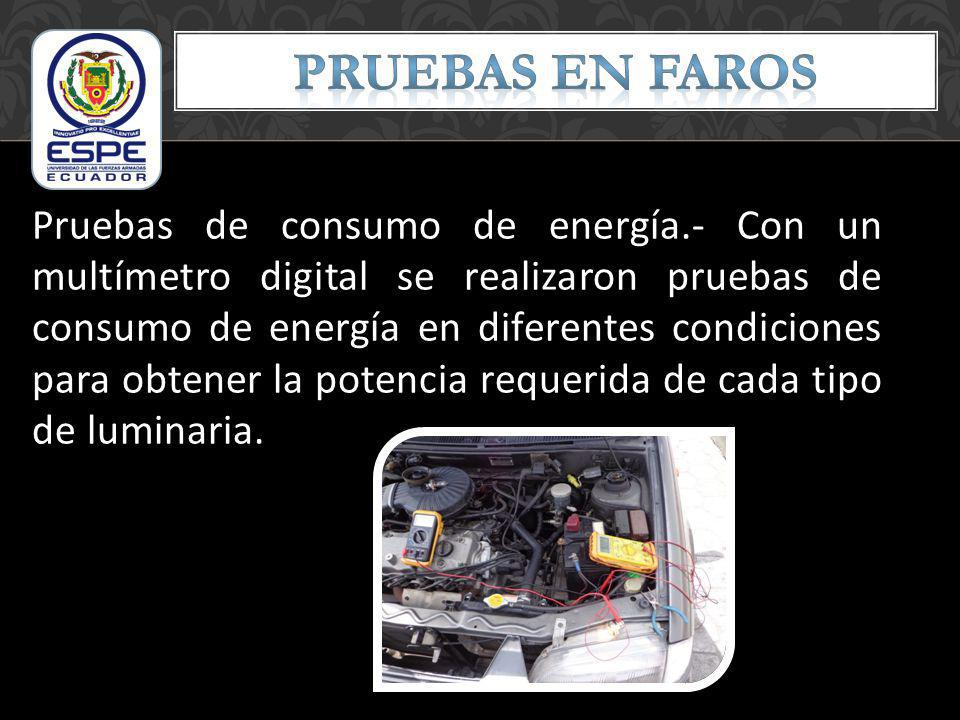 Pruebas de consumo de energía.- Con un multímetro digital se realizaron pruebas de consumo de energía en diferentes condiciones para obtener la potenc