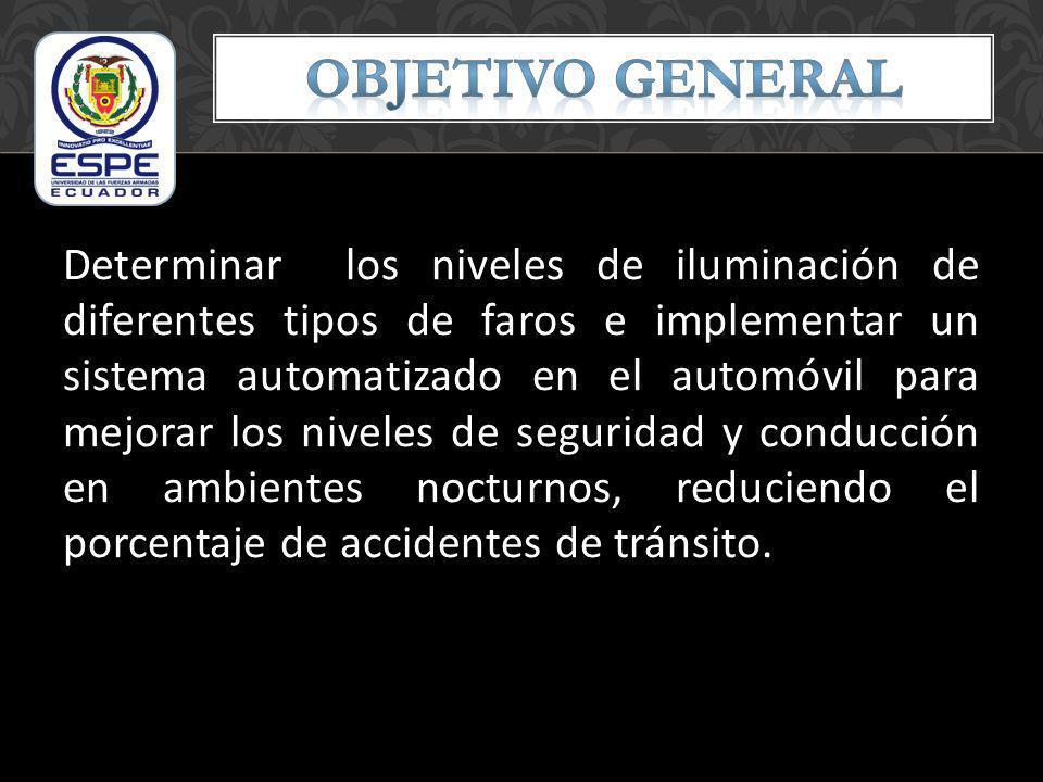 Determinar los niveles de iluminación de diferentes tipos de faros e implementar un sistema automatizado en el automóvil para mejorar los niveles de s