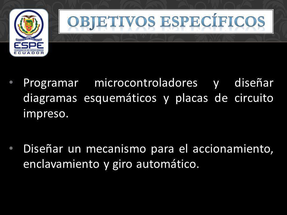 Programar microcontroladores y diseñar diagramas esquemáticos y placas de circuito impreso. Diseñar un mecanismo para el accionamiento, enclavamiento