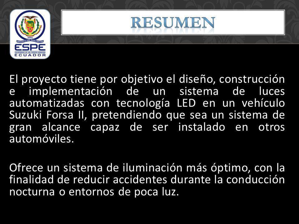 El proyecto tiene por objetivo el diseño, construcción e implementación de un sistema de luces automatizadas con tecnología LED en un vehículo Suzuki