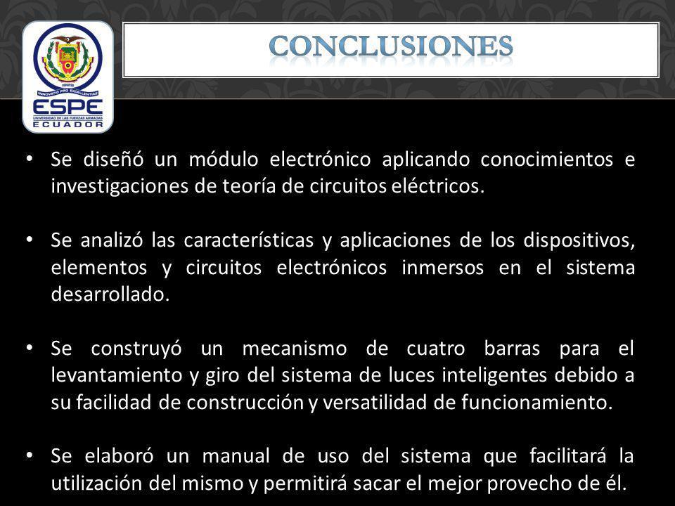 Se diseñó un módulo electrónico aplicando conocimientos e investigaciones de teoría de circuitos eléctricos. Se analizó las características y aplicaci
