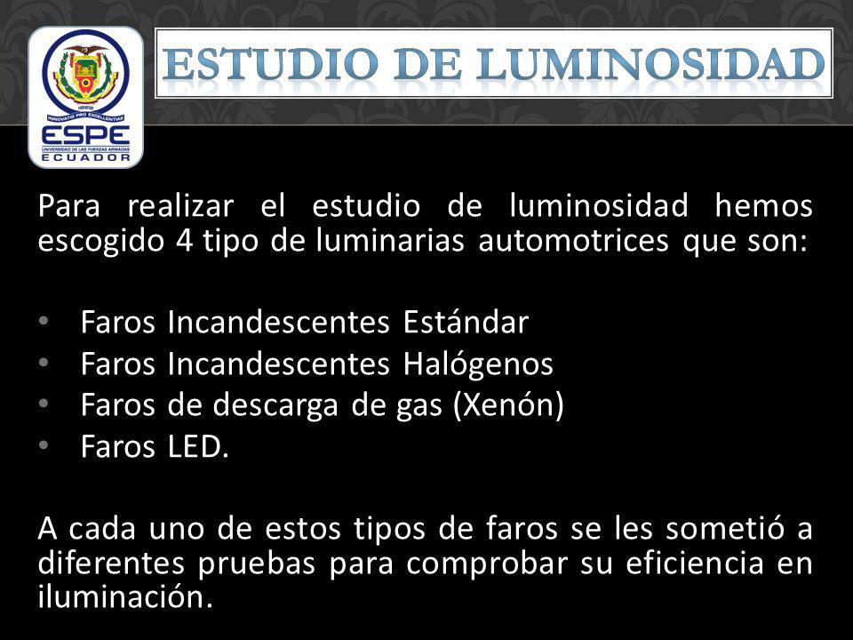 Para realizar el estudio de luminosidad hemos escogido 4 tipo de luminarias automotrices que son: Faros Incandescentes Estándar Faros Incandescentes H