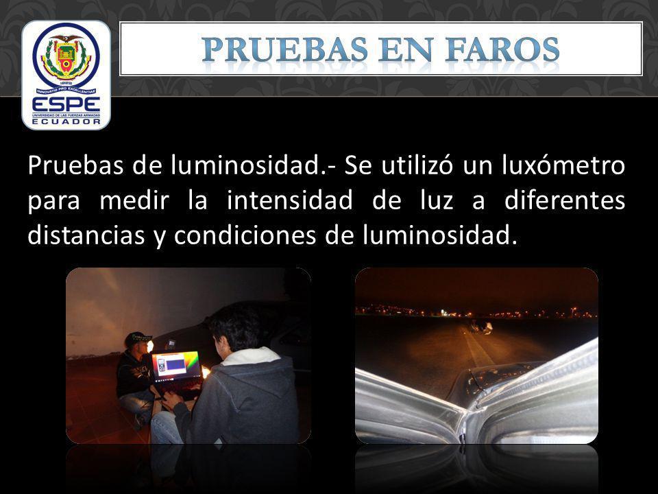 Eficiencia del Faro: Para calcular la eficiencia luminosa se hace una relación considerando que la eficacia luminosa máxima 673 lm/W corresponde a una eficiencia del 100%.