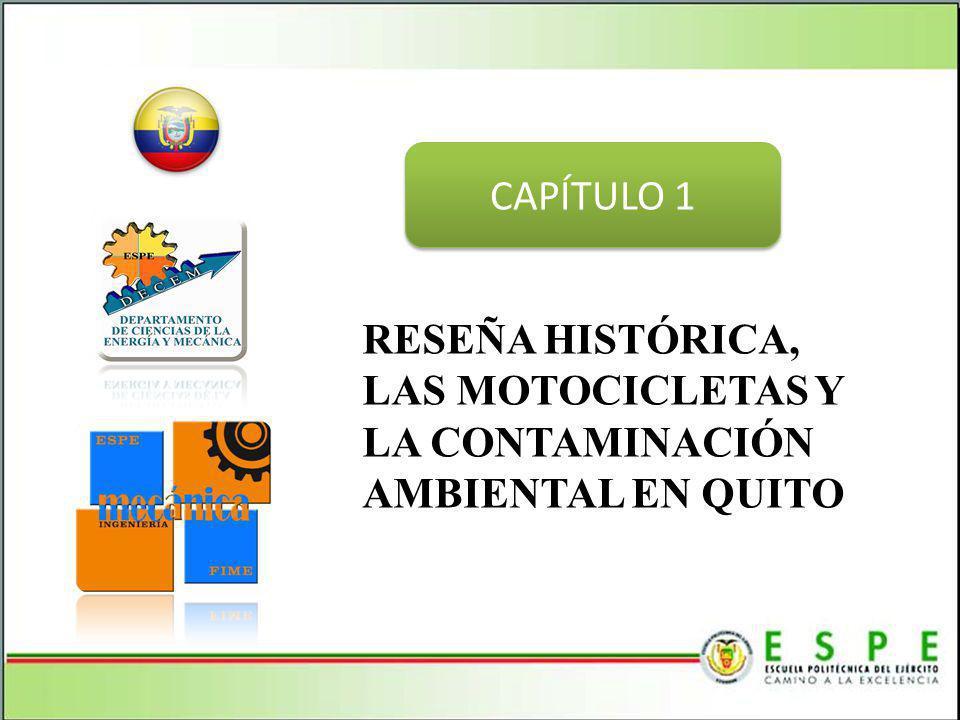 En la ciudad de Quito alrededor del 5% del parque automotor (450.000 vehículos hasta Noviembre 2012) son motocicletas, es decir, alrededor de 22500 circulan por las calles de Quito, por lo tanto son un grupo importante en la contaminación del medio ambiente.