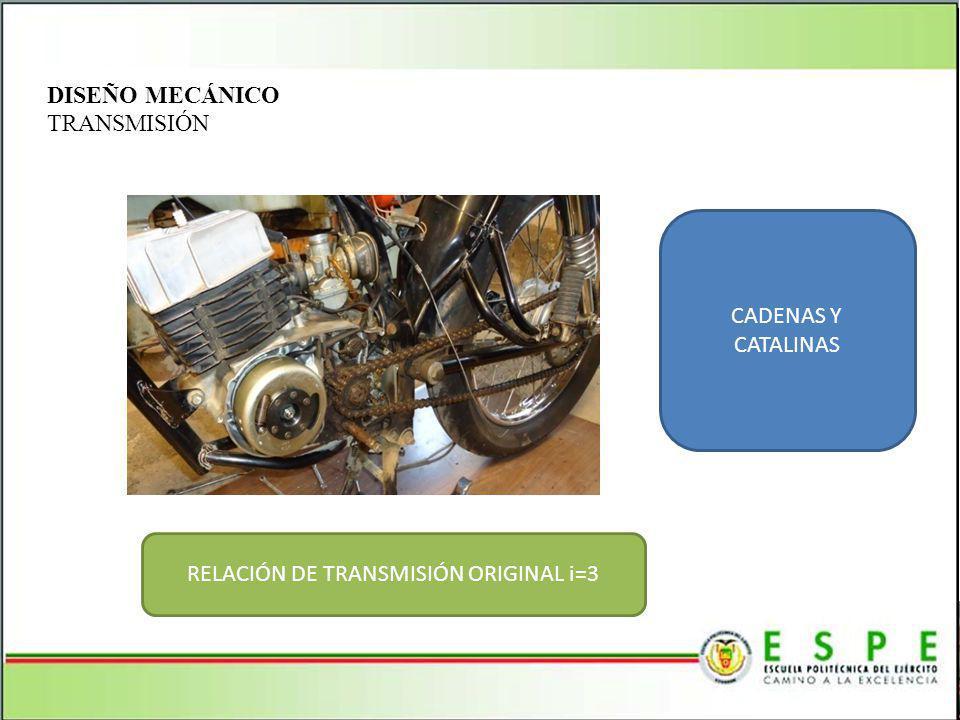 DISEÑO MECÁNICO TRANSMISIÓN CADENAS Y CATALINAS RELACIÓN DE TRANSMISIÓN ORIGINAL i=3