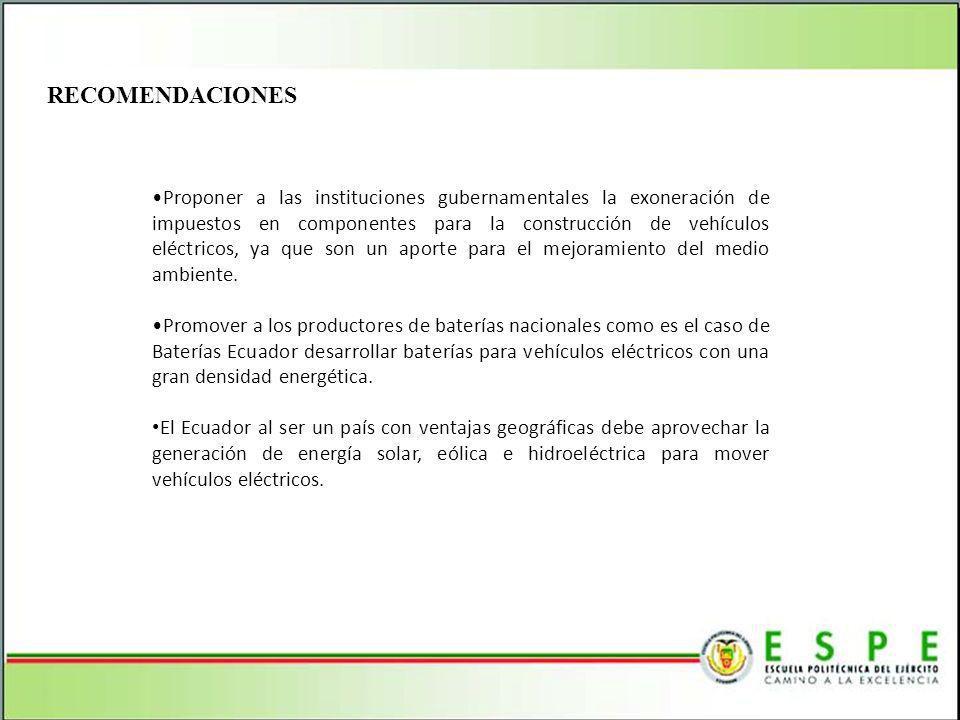 RECOMENDACIONES Proponer a las instituciones gubernamentales la exoneración de impuestos en componentes para la construcción de vehículos eléctricos,