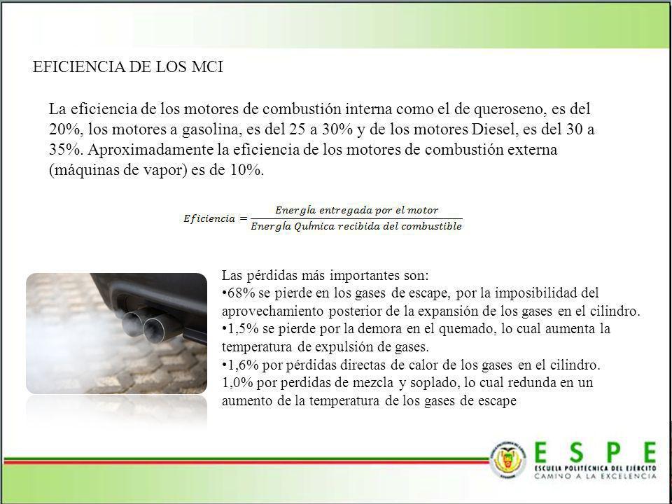 EFICIENCIA DE LOS MCI La eficiencia de los motores de combustión interna como el de queroseno, es del 20%, los motores a gasolina, es del 25 a 30% y d