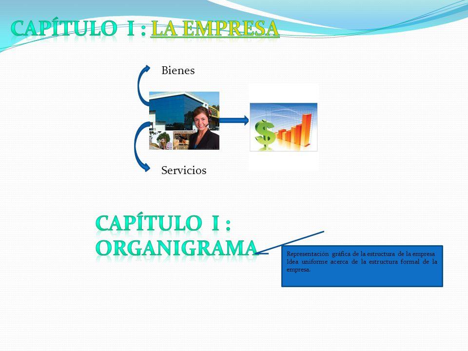 Bienes Servicios Representación gráfica de la estructura de la empresa Idea uniforme acerca de la estructura formal de la empresa.
