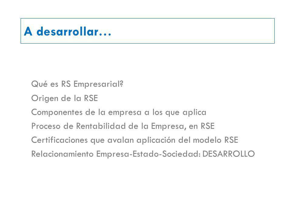 A desarrollar… Qué es RS Empresarial.