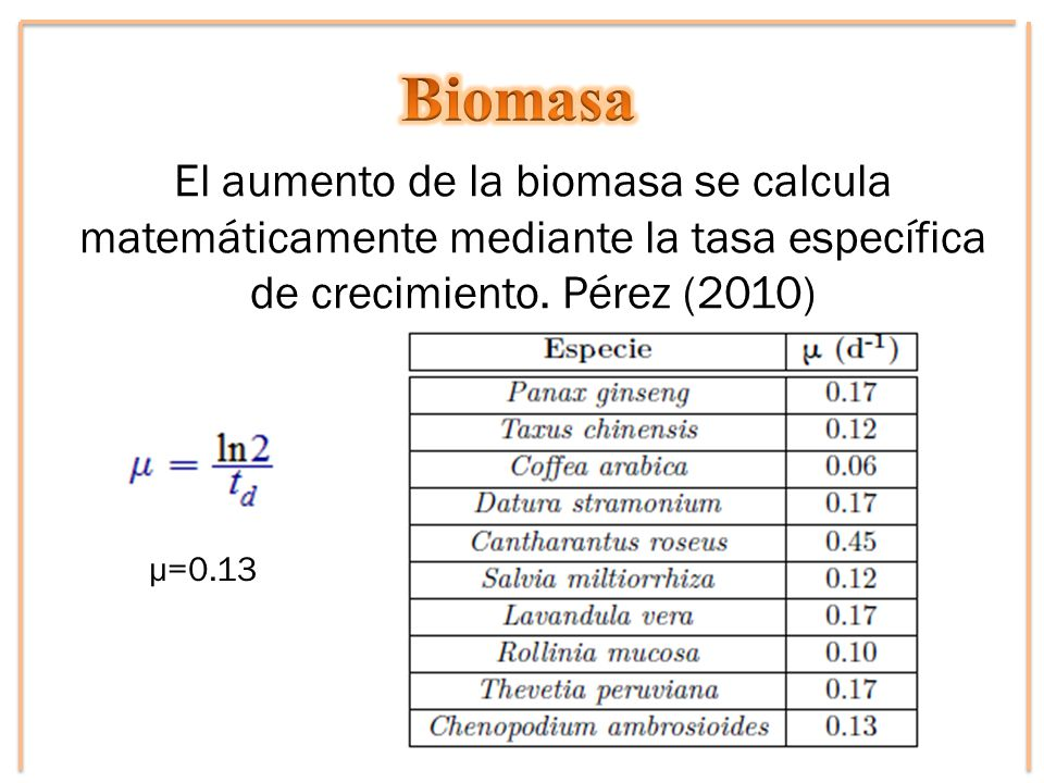 El aumento de la biomasa se calcula matemáticamente mediante la tasa específica de crecimiento. Pérez (2010) μ=0.13