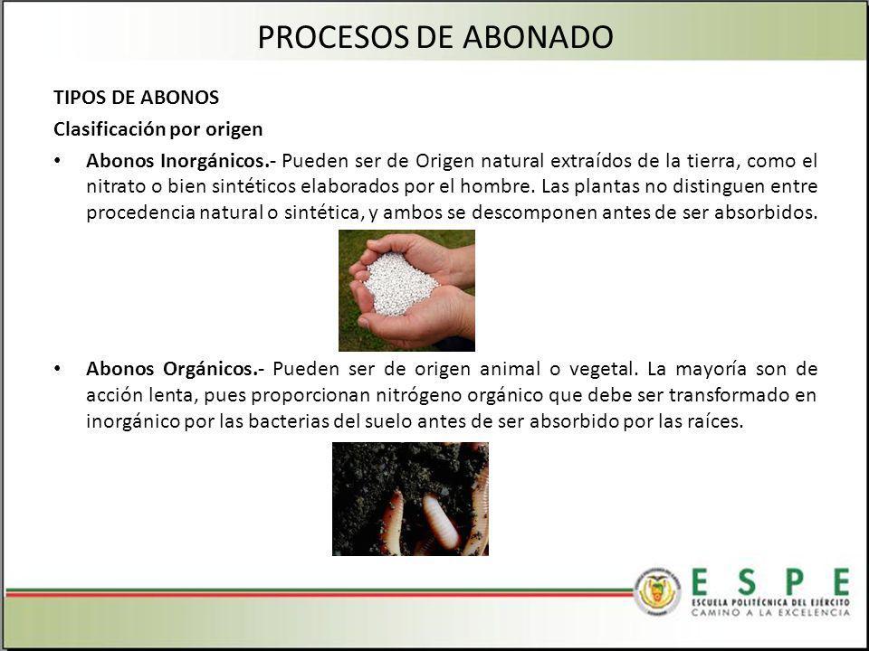 TIPOS DE ABONOS Clasificación por origen Abonos Inorgánicos.- Pueden ser de Origen natural extraídos de la tierra, como el nitrato o bien sintéticos elaborados por el hombre.