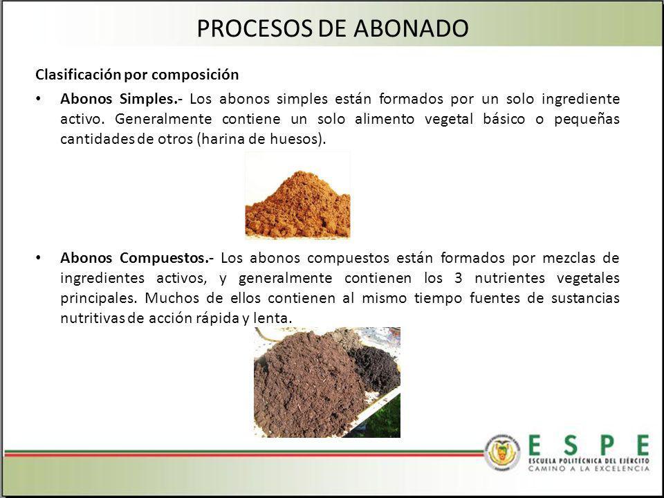 Clasificación por composición Abonos Simples.- Los abonos simples están formados por un solo ingrediente activo.
