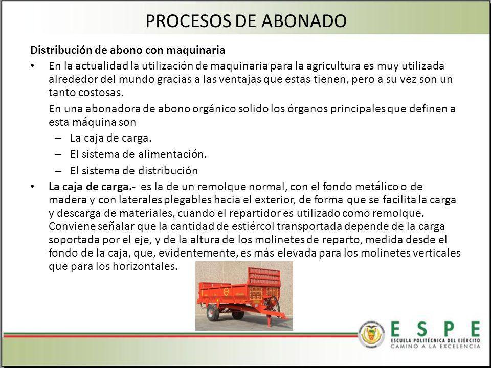 Distribución de abono con maquinaria En la actualidad la utilización de maquinaria para la agricultura es muy utilizada alrededor del mundo gracias a las ventajas que estas tienen, pero a su vez son un tanto costosas.