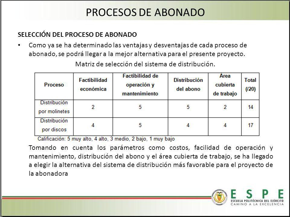 SELECCIÓN DEL PROCESO DE ABONADO Como ya se ha determinado las ventajas y desventajas de cada proceso de abonado, se podrá llegar a la mejor alternativa para el presente proyecto.