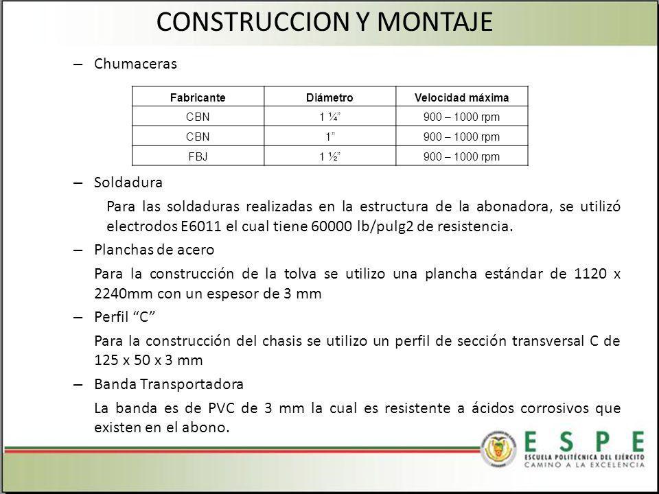 – Chumaceras – Soldadura Para las soldaduras realizadas en la estructura de la abonadora, se utilizó electrodos E6011 el cual tiene 60000 lb/pulg2 de resistencia.