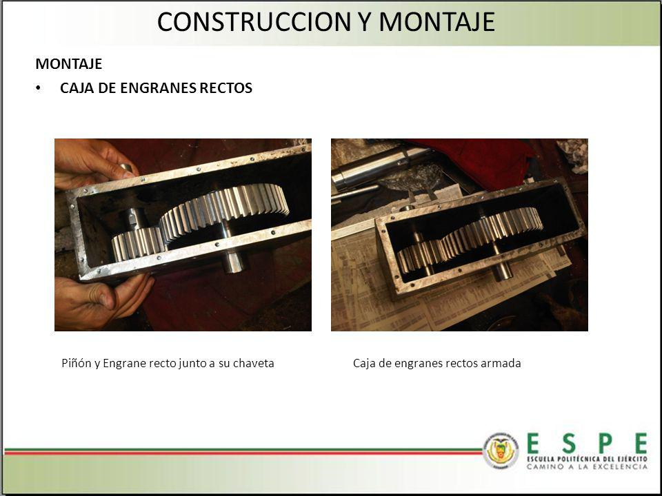 MONTAJE CAJA DE ENGRANES RECTOS CONSTRUCCION Y MONTAJE Piñón y Engrane recto junto a su chavetaCaja de engranes rectos armada