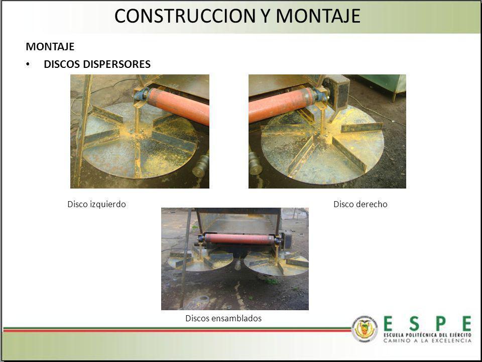 MONTAJE DISCOS DISPERSORES CONSTRUCCION Y MONTAJE Disco izquierdoDisco derecho Discos ensamblados