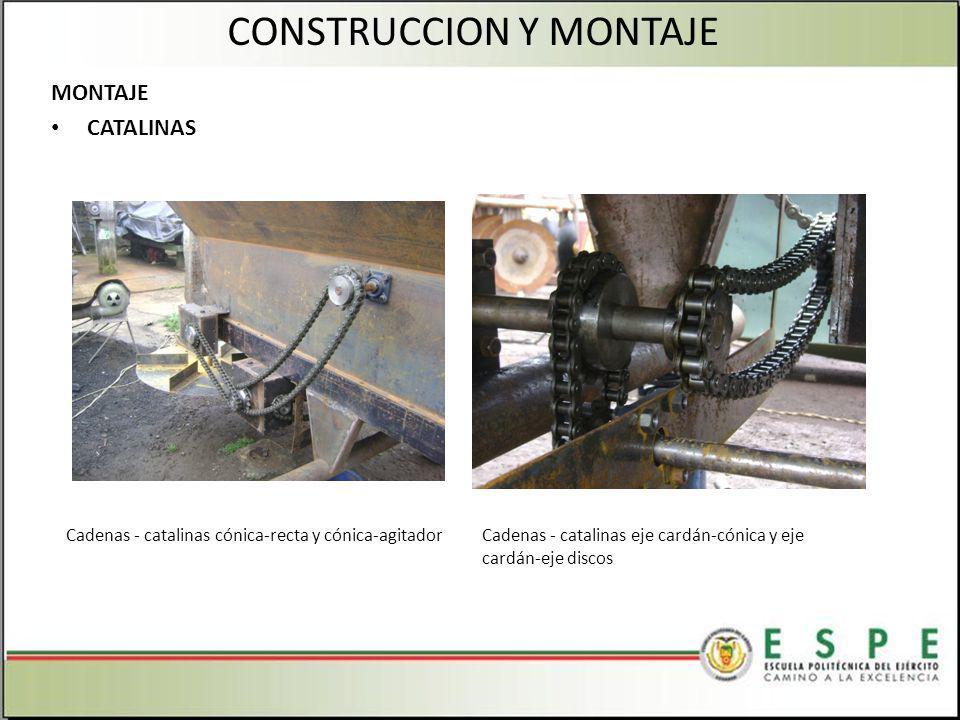 MONTAJE CATALINAS CONSTRUCCION Y MONTAJE Cadenas - catalinas cónica-recta y cónica-agitadorCadenas - catalinas eje cardán-cónica y eje cardán-eje discos