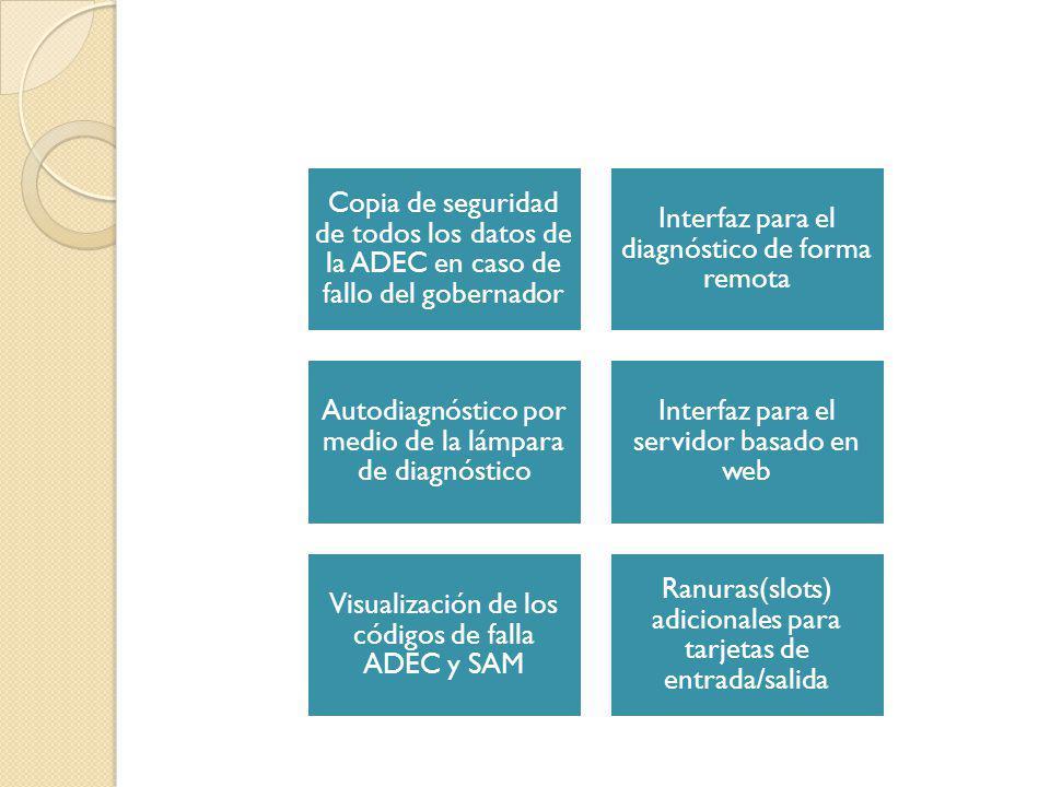 Copia de seguridad de todos los datos de la ADEC en caso de fallo del gobernador Interfaz para el diagnóstico de forma remota Autodiagnóstico por medi