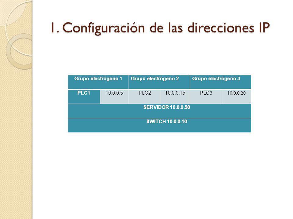 1. Configuración de las direcciones IP Grupo electrógeno 1Grupo electrógeno 2Grupo electrógeno 3 PLC110.0.0.5PLC210.0.0.15PLC3 10.0.0.20 SERVIDOR 10.0