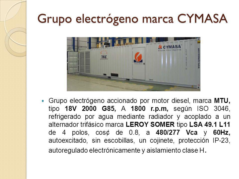Grupo electrógeno marca CYMASA Grupo electrógeno accionado por motor diesel, marca MTU, tipo 18V 2000 G85, A 1800 r.p.m, según ISO 3046, refrigerado p